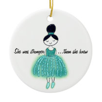 Stronger Than She Knew Customizable Ovarian Cancer Ceramic Ornament
