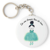 Stronger Than She Knew Customizable Ovarian Cancer Keychain