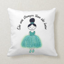 Stronger Than She Knew Customizable Ovarian Cancer Throw Pillow