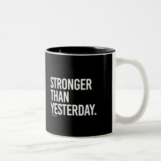 Stronger than yesterday -   Training Fitness -.png Two-Tone Coffee Mug