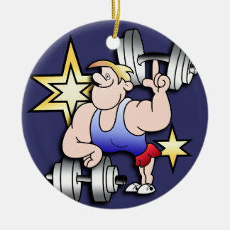 Strongman Double-Sided Ceramic Round Christmas Ornament