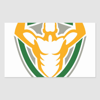 Strongman Flexing Muscles Crest Icon Rectangular Sticker