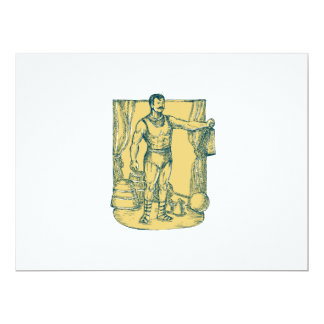 Strongman Lifting Weight Drawing 6.5x8.75 Paper Invitation Card