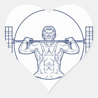 Strongman Lifting Weight Mono Line Heart Sticker