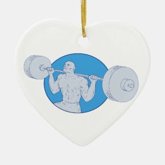 Strongman Powerlifting Barbell Drawing Ceramic Ornament