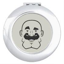 Strongstache (Bald, Black Hair) Compact Mirror