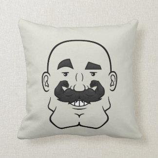 Strongstache (Bald, Black Hair) Pillow