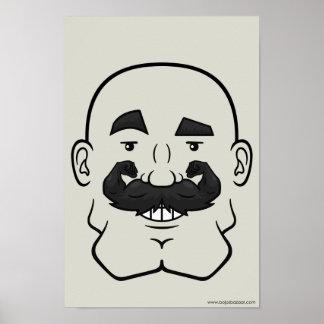 Strongstache (Bald, Black Hair) Posters