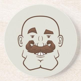 Strongstache Bald Brown Hair Beverage Coasters