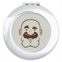 Strongstache (Bald, Brown Hair) Compact Mirror