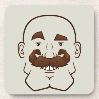 Strongstache (Bald, Brown Hair) Drink Coaster