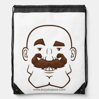 Strongstache (Bald, Brown Hair) Drawstring Backpack