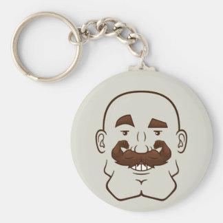 Strongstache Bald Brown Hair Keychains