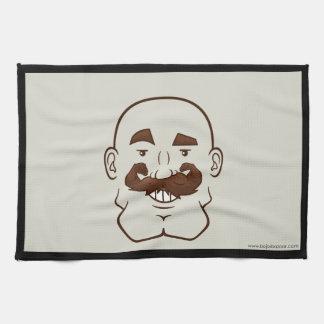 Strongstache (Bald, Brown Hair) Hand Towels