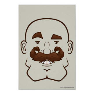 Strongstache (Bald, Brown Hair) Posters
