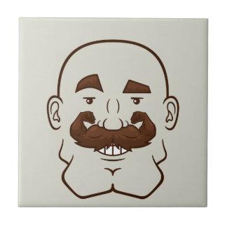Strongstache (Bald, Brown Hair) Ceramic Tile