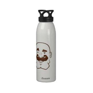 Strongstache (Bald, Brown Hair) Water Bottle