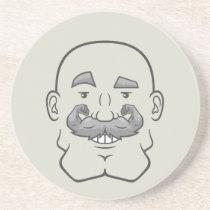 Strongstache (Bald, Gray Hair) Sandstone Coaster