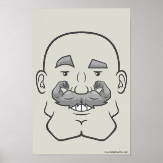 Strongstache (Bald, Gray Hair) Print