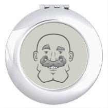 Strongstache (Bald, Gray Hair) Compact Mirror