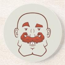 Strongstache (Bald, Red Hair) Sandstone Coaster