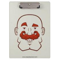 Strongstache (Bald, Red Hair) Clipboard