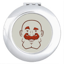 Strongstache (Bald, Red Hair) Compact Mirror