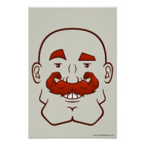 Strongstache (Bald, Red Hair) Poster