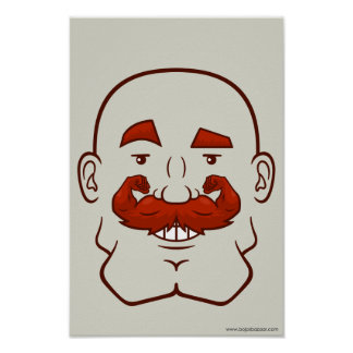 Strongstache (Bald, Red Hair) Print