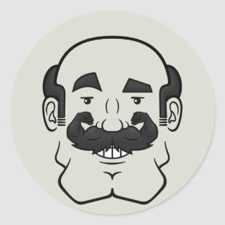 Strongstache (Balding, Black Hair) Classic Round Sticker