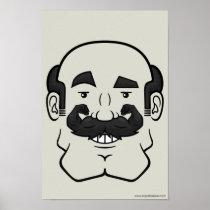 Strongstache (Balding, Black Hair) Poster