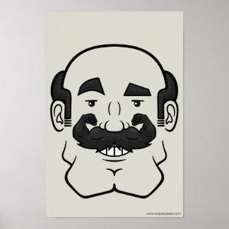 Strongstache (Balding, Black Hair) Print