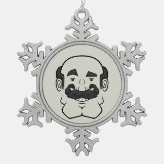 Strongstache (Balding, Black Hair) Snowflake Pewter Christmas Ornament