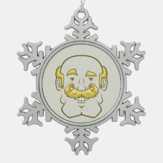 Strongstache (Balding, Blond Hair) Snowflake Pewter Christmas Ornament