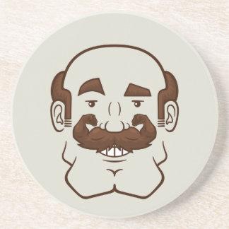 Strongstache Balding Brown Hair Beverage Coaster