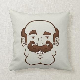 Strongstache (Balding, Brown Hair) Throw Pillow