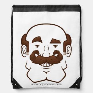 Strongstache Balding Brown Hair Drawstring Bag