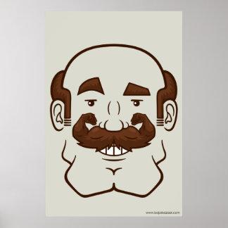 Strongstache (Balding, Brown Hair) Poster