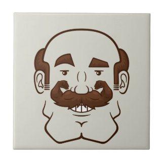Strongstache (Balding, Brown Hair) Ceramic Tile