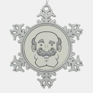 Strongstache (Balding, Gray Hair) Snowflake Pewter Christmas Ornament