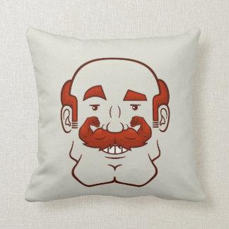 Strongstache (Balding, Red Hair) Throw Pillow