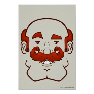 Strongstache (Balding, Red Hair) Posters