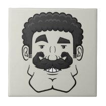 Strongstache (Curly Black Hair) Ceramic Tile