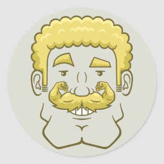 Strongstache (Curly Blond Hair) Classic Round Sticker