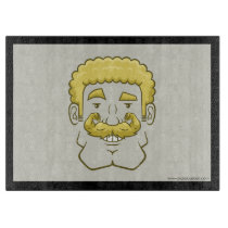 Strongstache (Curly Blond Hair) Cutting Board