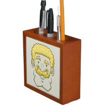 Strongstache (Curly Blond Hair) Desk Organizer