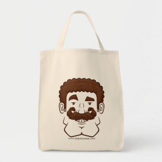 Strongstache (Curly Brown Hair) Canvas Bags