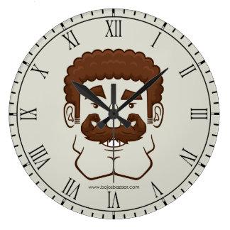 Strongstache (Curly Brown Hair) Wall Clocks
