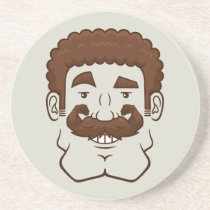 Strongstache (Curly Brown Hair) Sandstone Coaster
