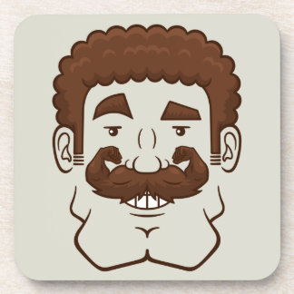 Strongstache (Curly Brown Hair) Coaster
